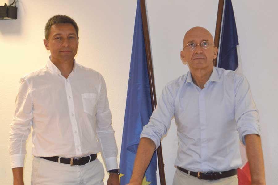 De gauche à droite, Frédéric Mortier et Philippe Gustin, délégués  interministériels pour la reconstruction.