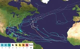 Systèmes tropicaux simultanés dans l'Atlantique Nord  à la mi-septembre 2020 (NHC)