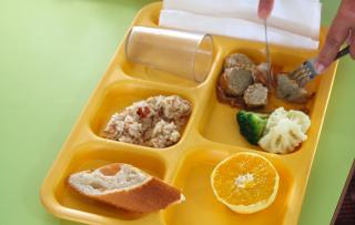 Un plateau repas type pour un enfant de maternelle.