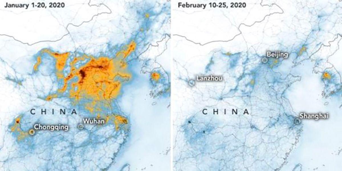 """Cartographies produites par la Nasa, issues des données de satellites européens et américains. Le """" nuage """" orange représente la quantité en dioxyde d'azote (NO2) contenu dans l'air au-dessus de la Chine en janvier 2020 et en février 2020"""
