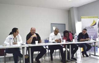 Maîtres Jabouley et Vayrac, Taï Ghzalale (membre associé CCISM), Agnès Lautone (DIECCTE) et Julien Bataille (Collectivité)